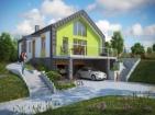 Проект коттеджа с цоколем, мансардой и гаражом